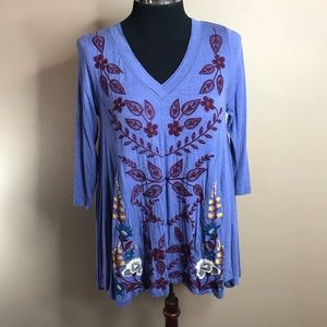 Anthropologie CAITE Tunic Top Blue S Floral V-neck